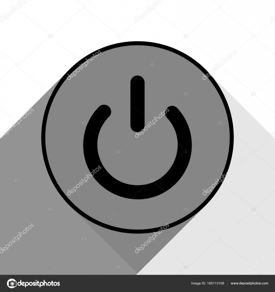 On Off switch sign. Vector. Black icon with two flat gray shadows on ...