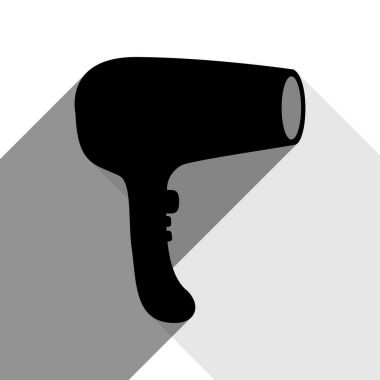 Hair Dryer sign. Vector. Black icon with two flat gray shadows on white background.