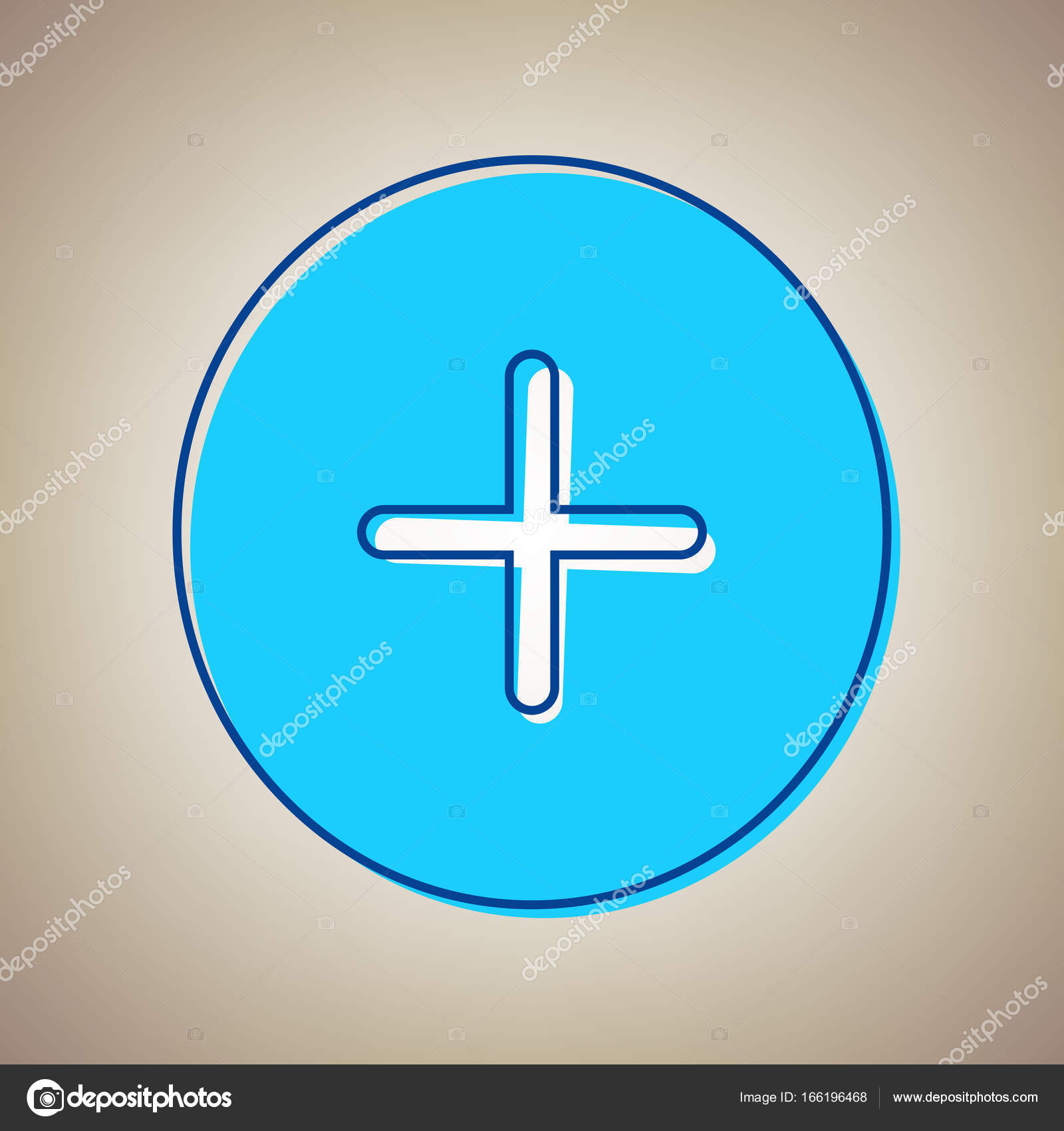 Positive Symbol Plus Sign Vector Sky Blue Icon With Defected Blue