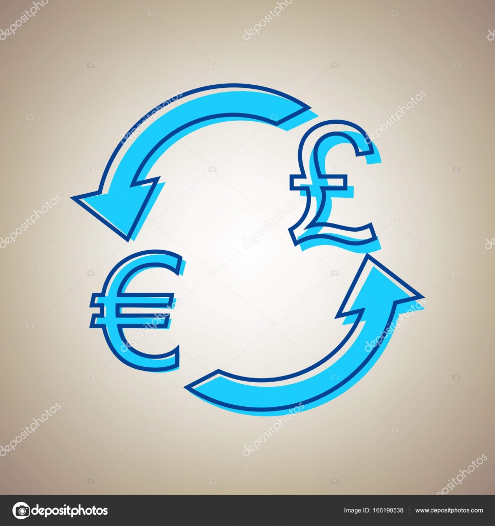 Currency Exchange Sign Euro And Uk Pound Vector Sky Blue Icon