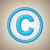 Copyright jel illusztráció. Vektor. Ég kék ikon disszidált kék körvonal bézs háttér