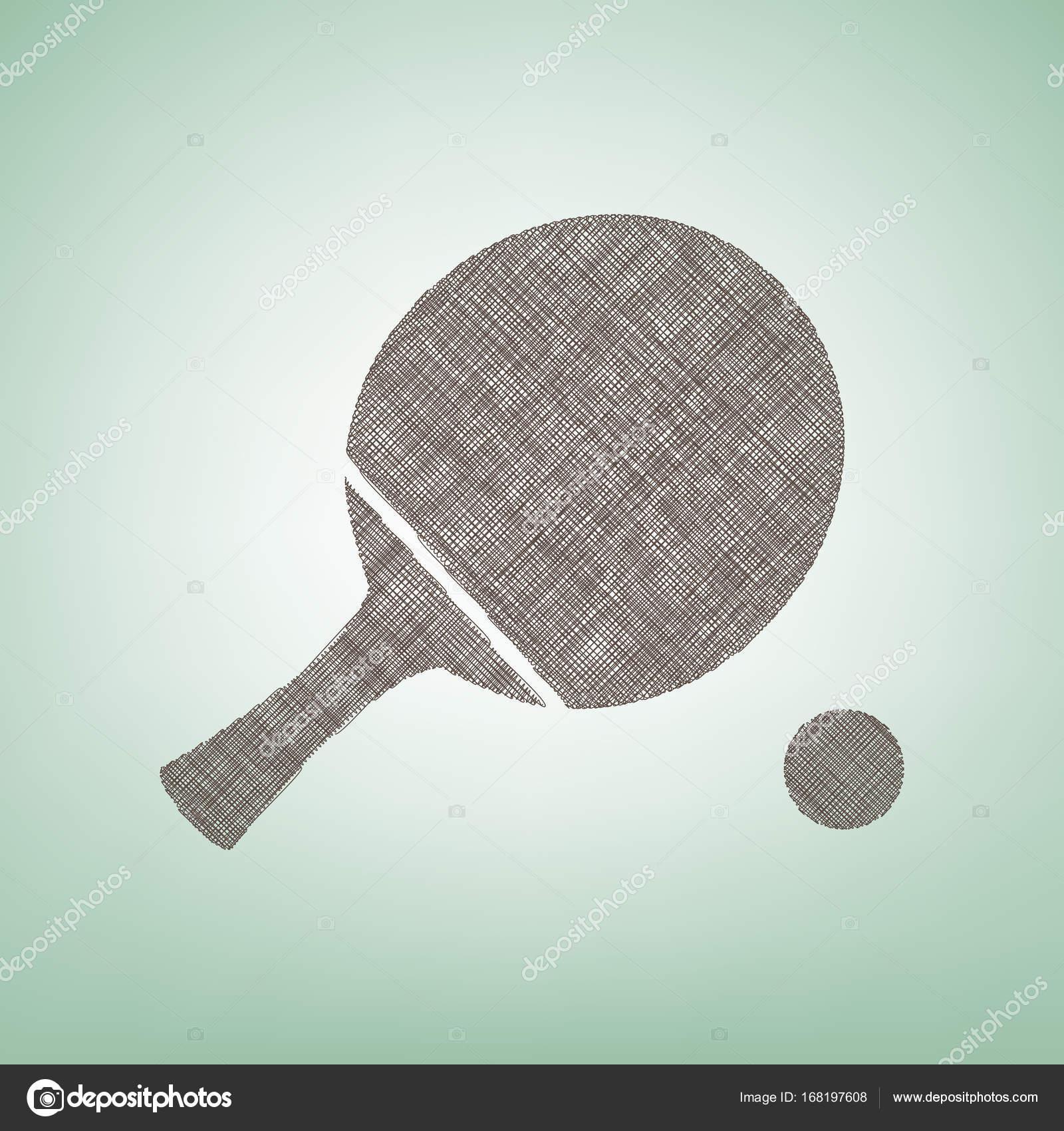 Racchetta Da Ping Pong Con La Sfera Vettore Icona Di Lino