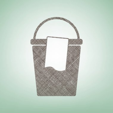 Bucket and a rag sign. Vector. Brown flax icon on green background with light spot at the center.