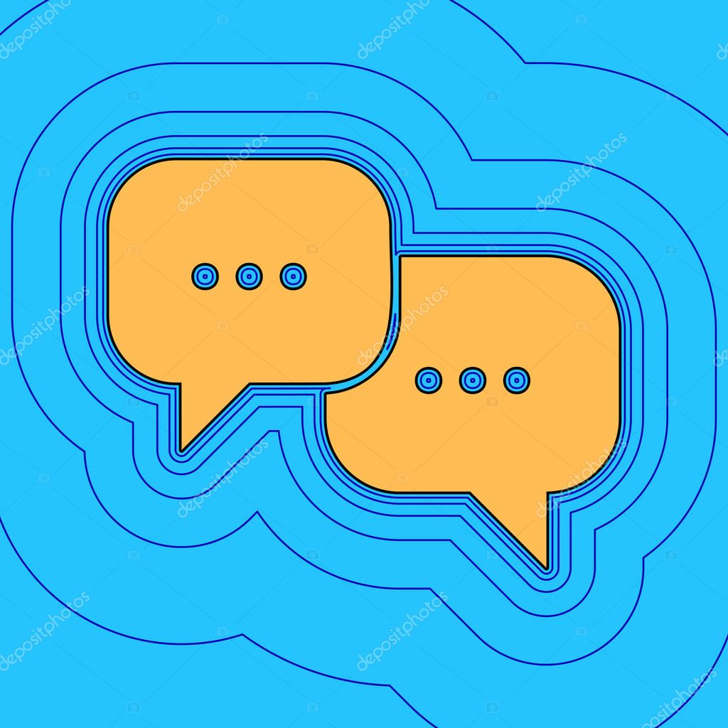 Speech bubbles sign. Vector. Sand color icon with black contour and equidistant blue contours like field at sky blue background. Like waves on map - island in ocean or sea.