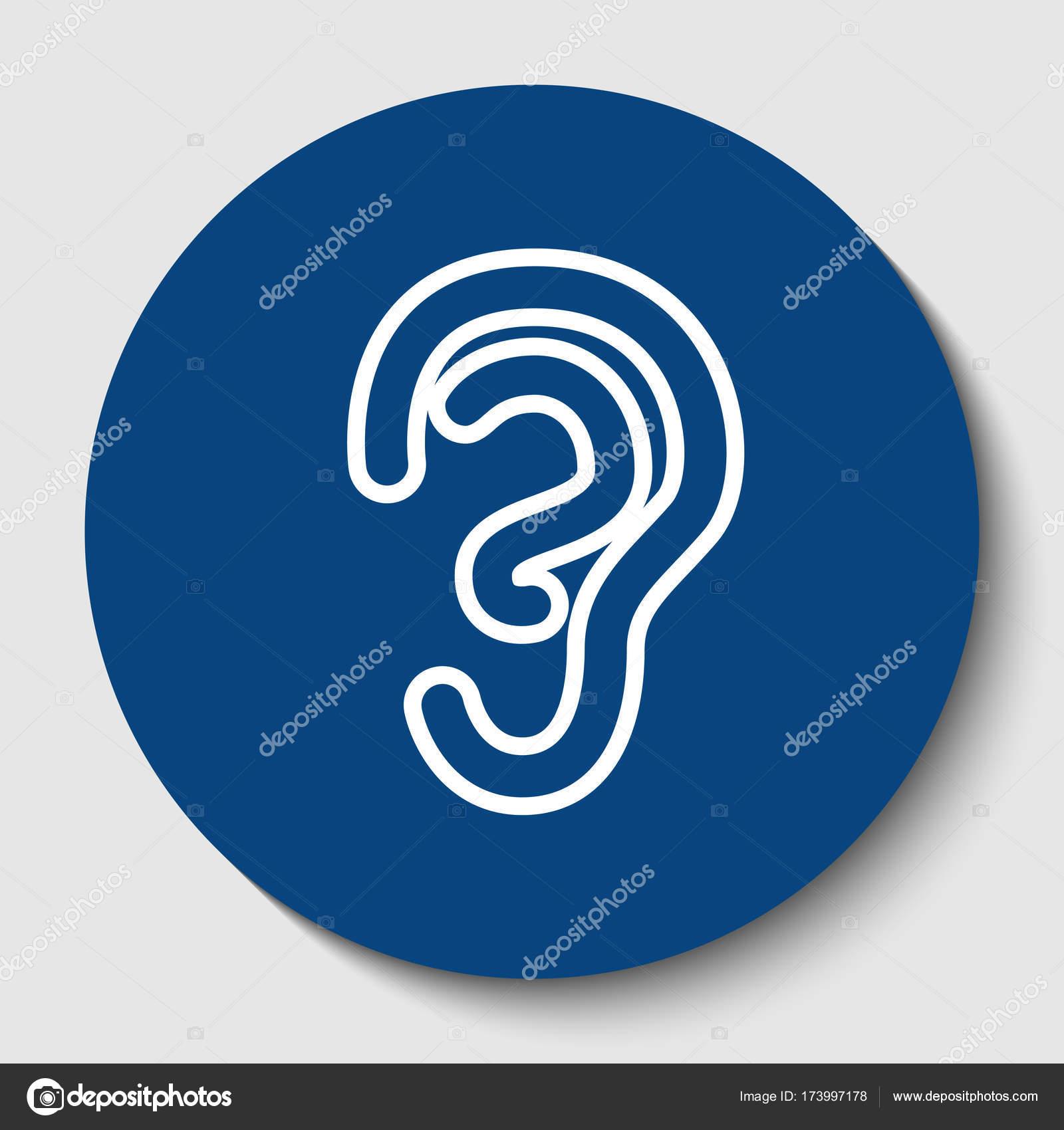 Anatomía humana. Señal de oreja. Vector. Icono de contorno blanco en ...