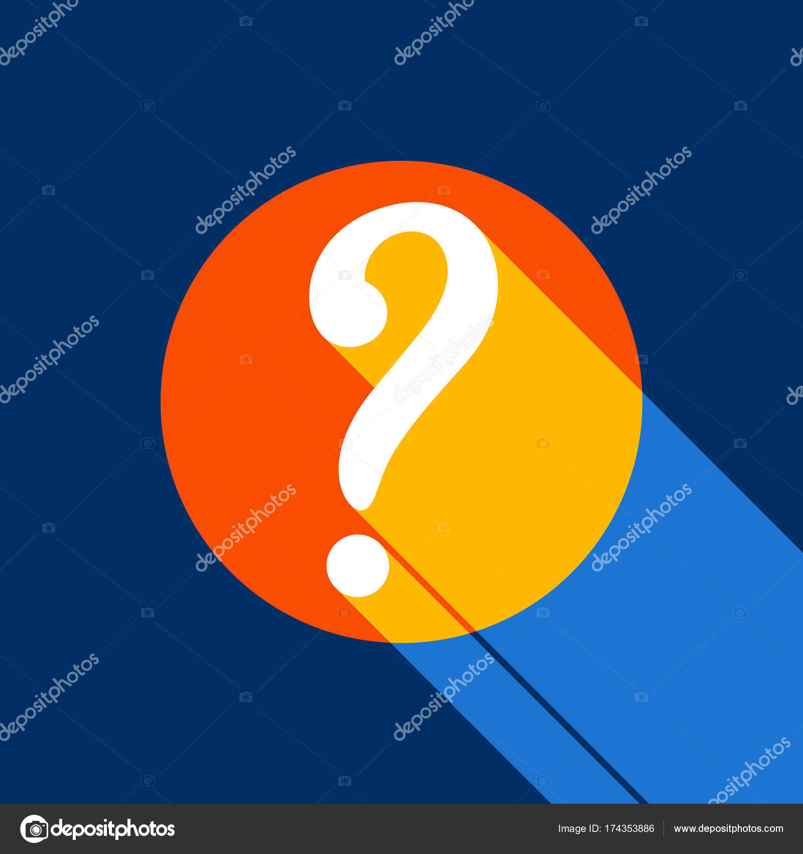 Question Mark Sign Vector White Icon On Tangelo Circle With