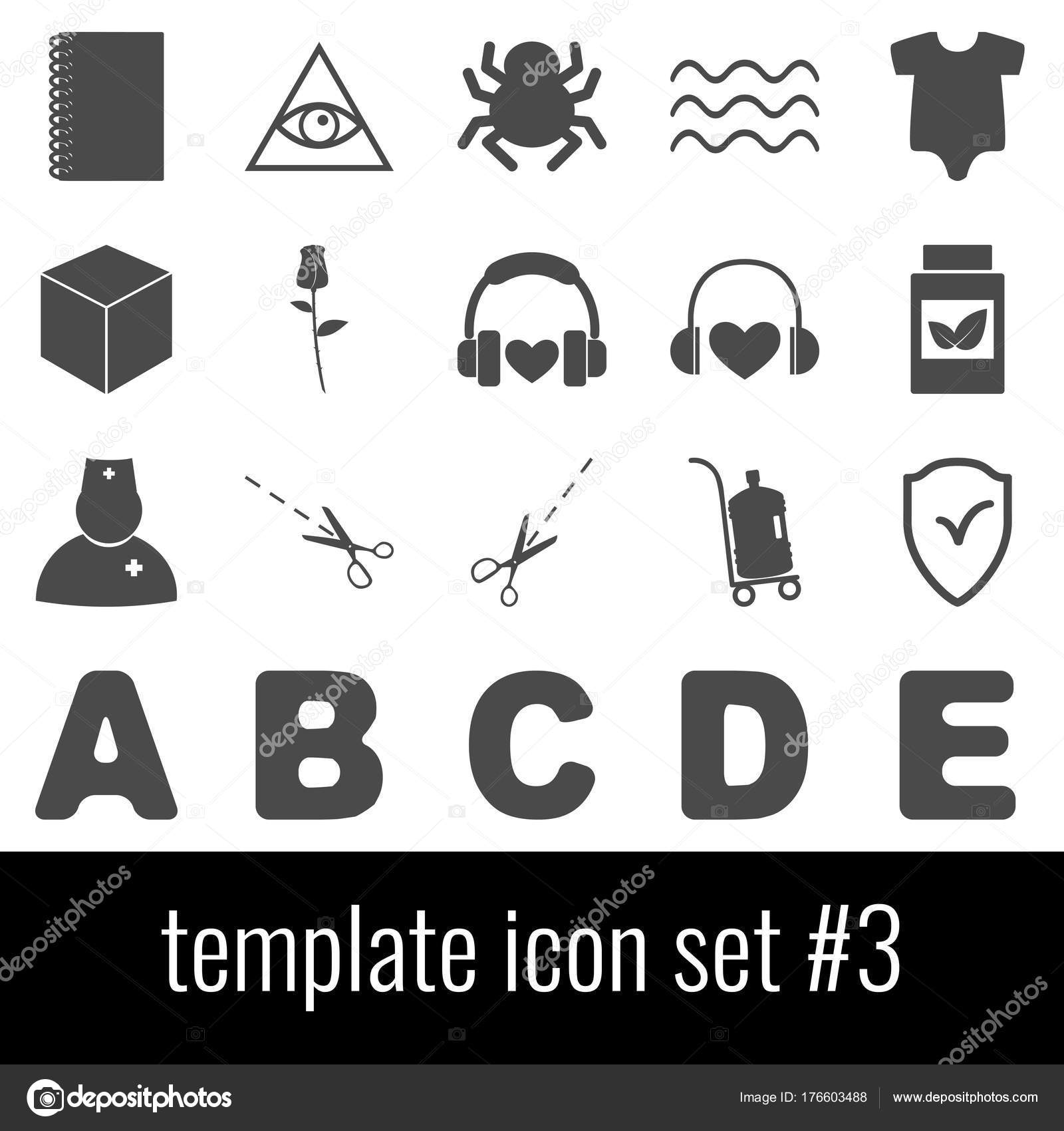 Plantilla. Icono de conjunto 3. Iconos grises sobre fondo blanco ...