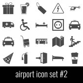 Airport. Icon set 2. Gray icons on white background.