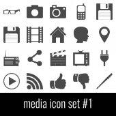 Media. Icon set 1. Gray icons on white background.