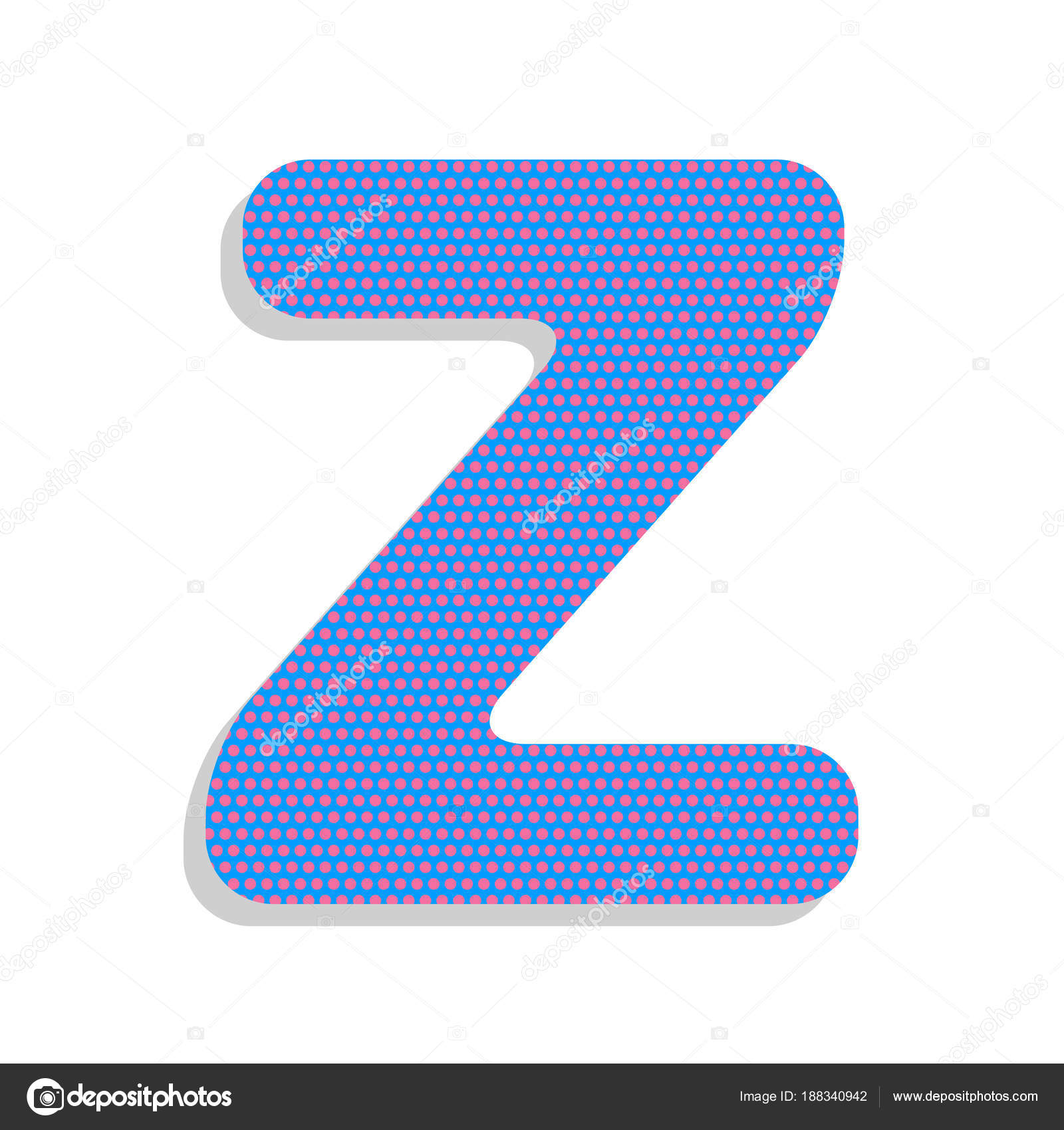 Letter Z sign design template element. Vector. Neon blue icon wi ...