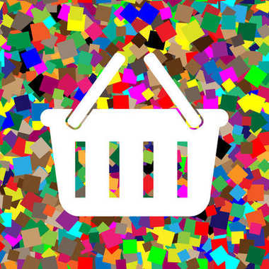 Shopping basket sign. Vector. White icon on colorful background