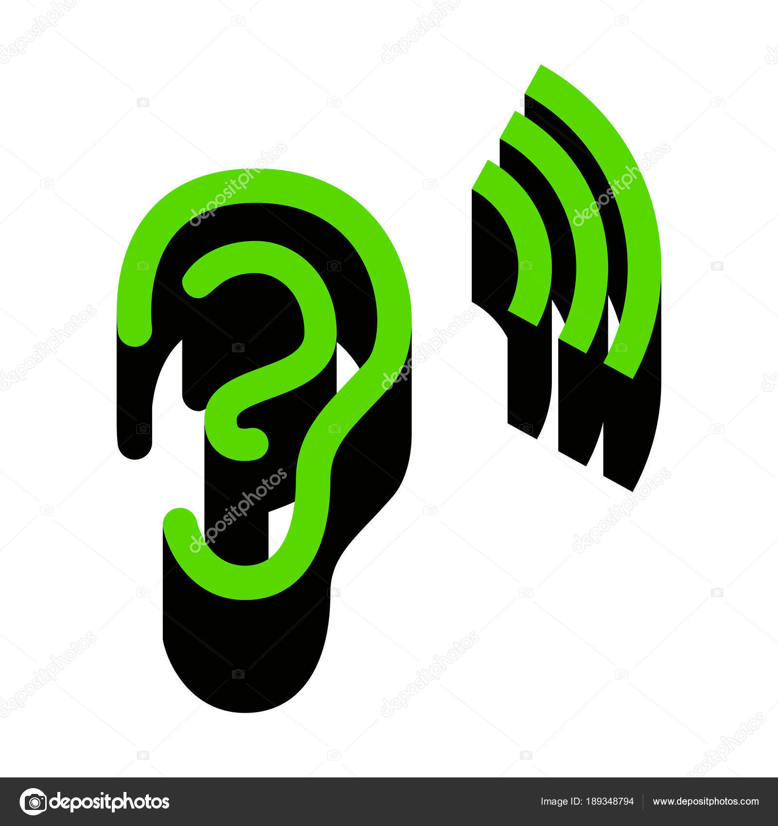Anatomía humana. Señal de oreja con ondas sonoras. Vector. Verde ...