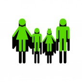 Fotografie Familie Schild. Vektor. 3d Icon mit schwarzen Seite auf weißem Rücken grün