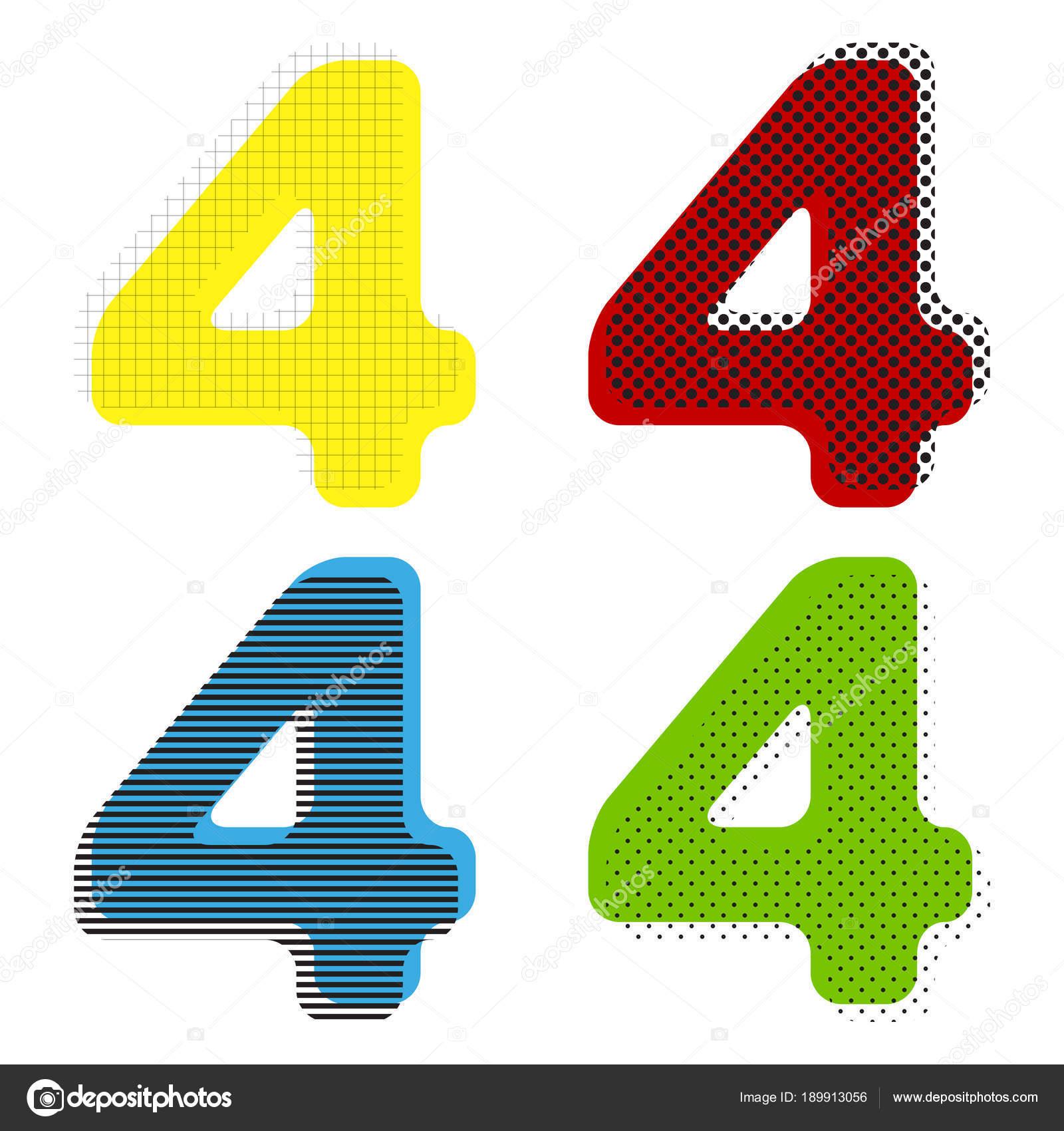 Elemento de plantilla de diseño de signo de número 4. Vector ...