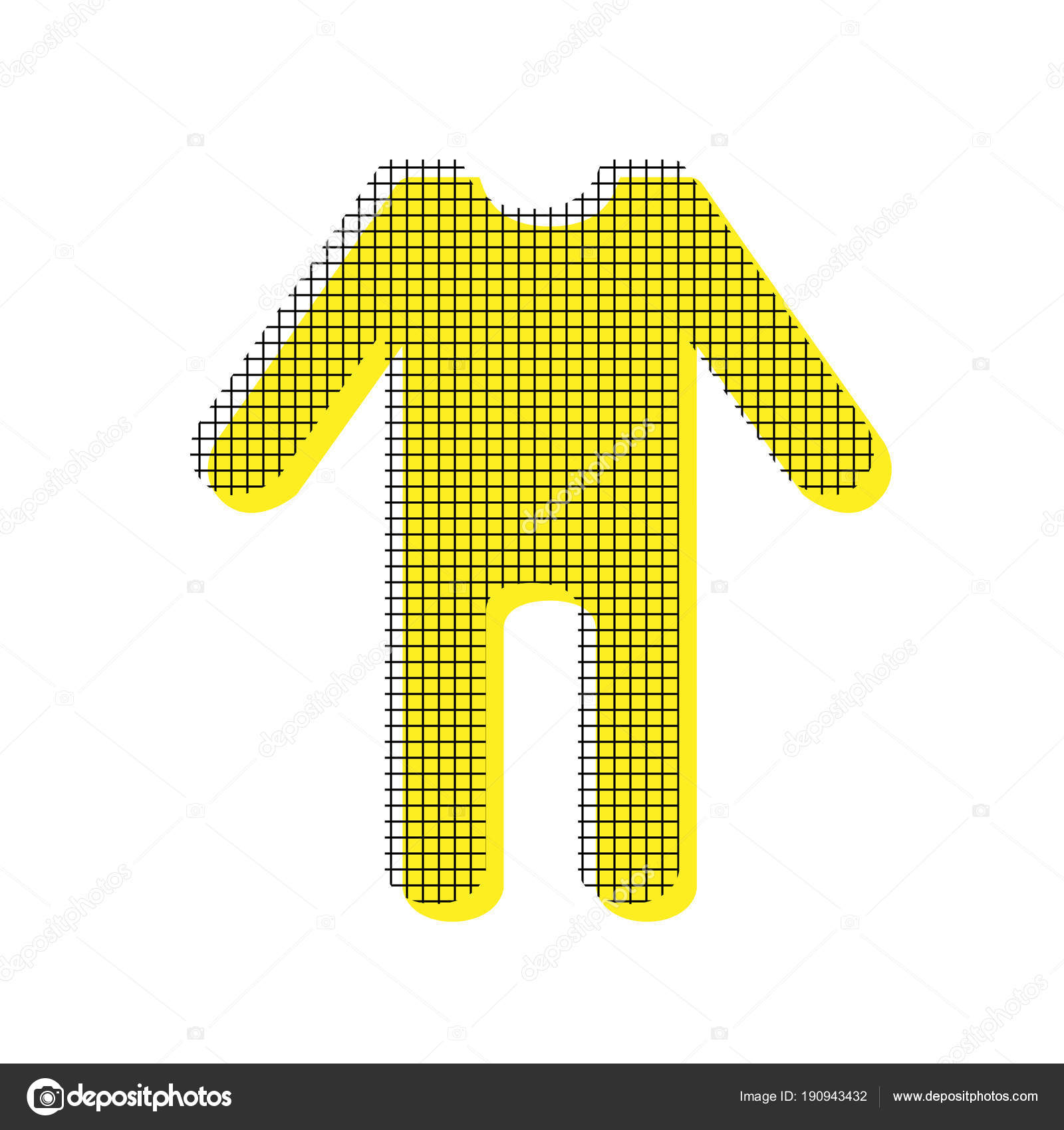 Baby clothes sign Vector Yellow icon with square pattern dupli