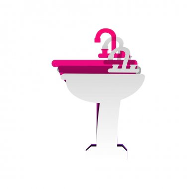 Bathroom sink sign. Vector. Detachable paper with shadow at unde