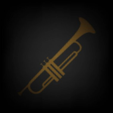 Musical instrument Trumpet sign. Icon as grid of small orange light bulb in darkness.