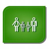 Fotografie Familienzeichen. Silberne Gradientenlinie mit dunkelgrünem Schatten am ökologisch geflickten grünen Blatt.