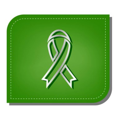 Black awareness ribbon sign. Silver gradient line icon with dark green shadow at ecological patched green leaf.