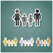 Fotografie Familienzeichen. Set von metallischen Ikonen mit Grau, Gold, Silber und Bronze Farbverlauf mit weißer Kontur und Schatten auf viridan Hintergrund.