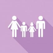 Fotografie Familienzeichen. Weiße Ikone mit langem Schatten auf violettem Hintergrund.