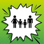 Fotografie Familienzeichen. Schwarze Ikone auf weißem Popart Splash auf grünem Hintergrund mit weißen Flecken.