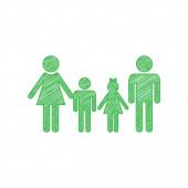 Fotografie Familienzeichen. Grünes Kritzelsymbol mit fester Kontur auf weißem Hintergrund.