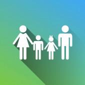 Fotografie Familienzeichen. Weiße Ikone mit grauem Schatten auf grünem bis blauem Hintergrund.