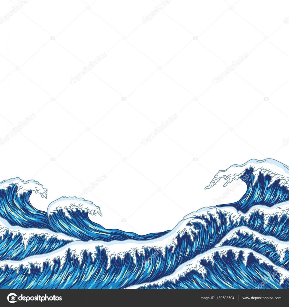 big blue sea waves — Stock Vector © CamillaCasablanca ...