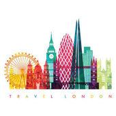 Reisedesign-Vorlage mit Silhouette der Stadt