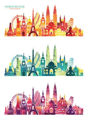 travel design templates with world landmarks