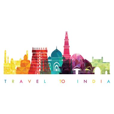 travel design template with famous landmarks