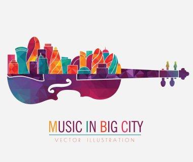 city on sounding board of violin
