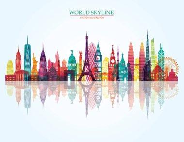 travel design template with world landmarks