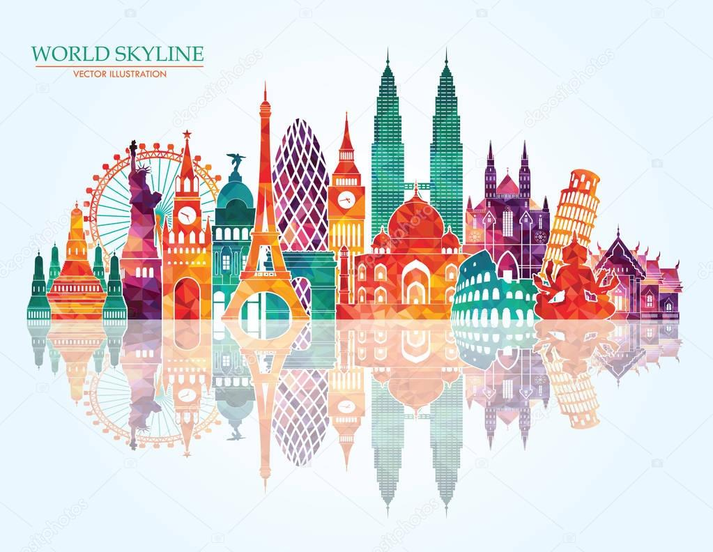 travel design template with world landmarks