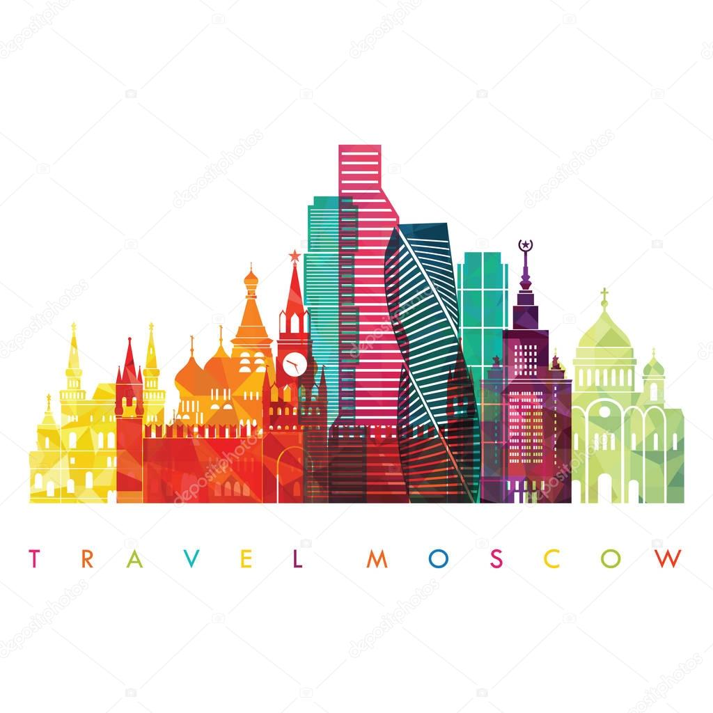 travel design template with silhouette of city
