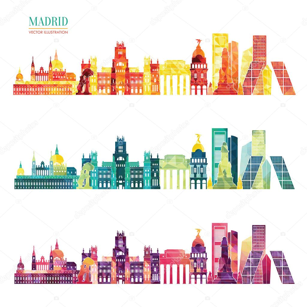 set of detailed city silhouettes