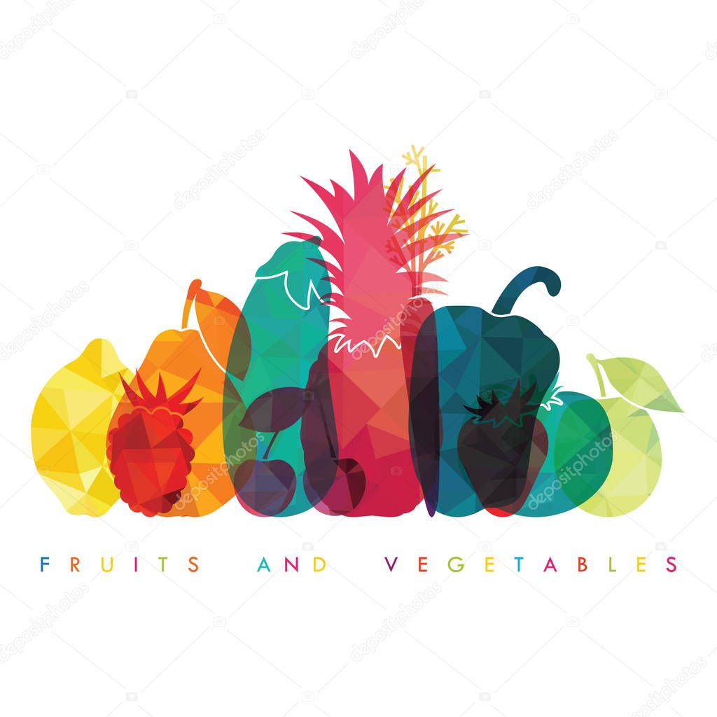 silhouettes of fruits and vegetables