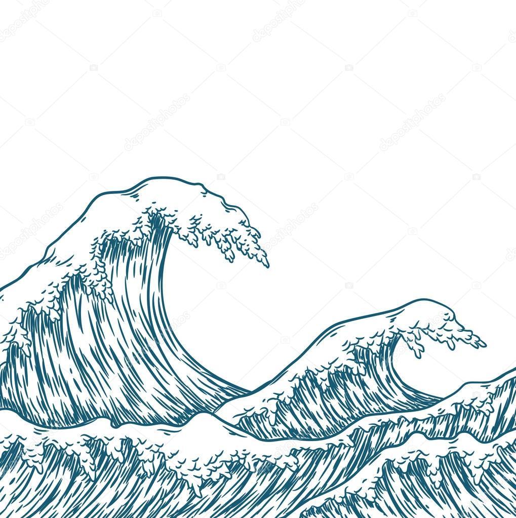 big blue sea waves