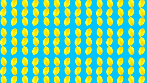 Looping absztrakt videó forgó gyümölcsökkel, színes háttérrel.