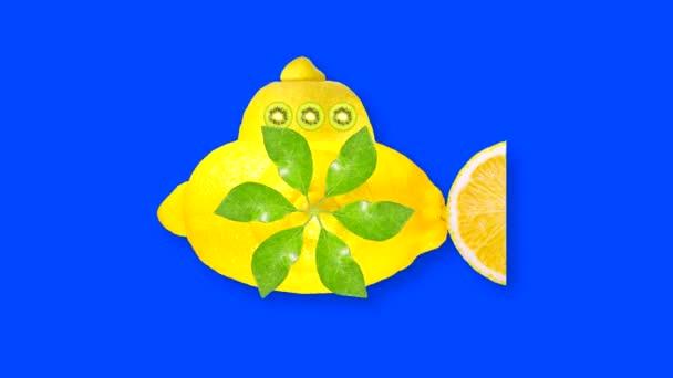 Looping animiertes Video eines gelben Schiffes aus Zitrone mit Pilzblättern aus grünen Blättern auf blauem Hintergrund mit Helligkeitsmaske zum Ausschneiden des Hintergrundes beim Videoschnitt.