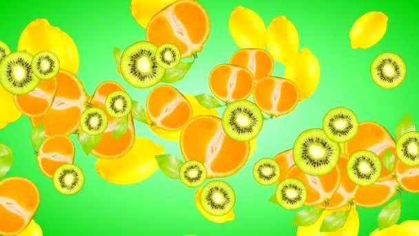 Animace vysoce kvalitních 4k plodů různých odrůd na gradientu pozadí zelené barvy