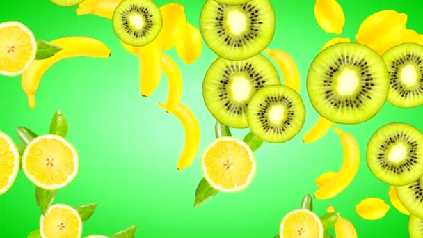 Animation of high quality 4K fruits of different varieties on a gradient background of green color