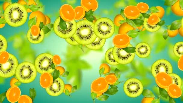 Absztrakt 4k háttér gyümölcsökkel gradiens alapon elmosódott levelek a háttérben forgatással.