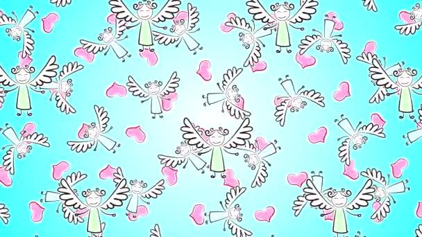 Hochwertiges abstraktes Animationsvideo mit gemalten Engeln mit Flügeln, die sich horizontal auf einem azurblauen Hintergrund mit Herzen bewegen. Valentinstag.