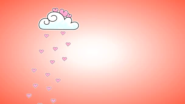 A drawn cloud with pink raindrops hearts with an alpha channel to remove the background when editing in the form of a high-quality brightness mask.