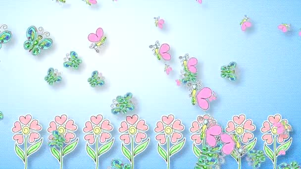 Abstract video with a blue gradient background with butterflies, flapping wings and flowers with buds in the shape of a heart.