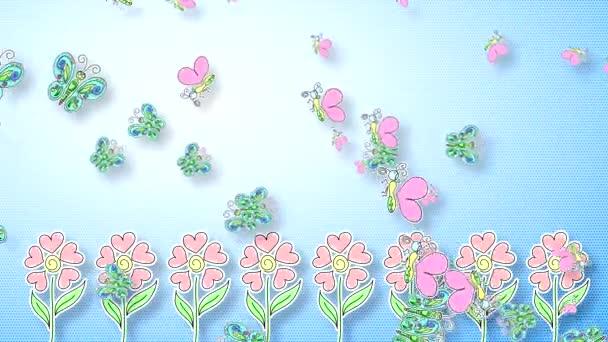 Absztrakt videó kék gradiens háttér pillangók, csapkodó szárnyak és virágok rügyek alakú szív.