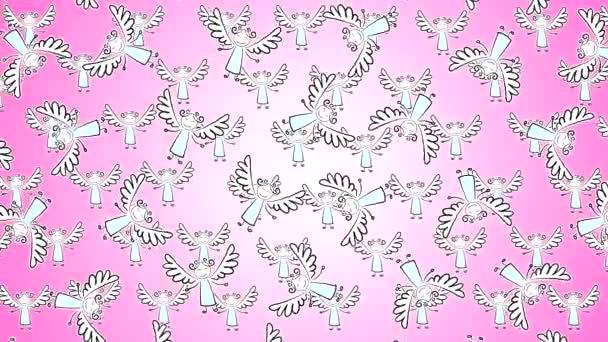 Hochwertiges abstraktes animiertes Video mit gemalten Engeln mit Flügeln, die sich horizontal auf einem violetten Hintergrund mit Herzchen bewegen. Valentinstag.