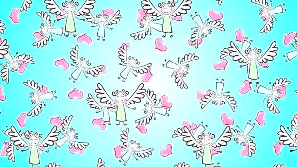 Kiváló minőségű, absztrakt animációs videó festett angyalokkal, melyek szárnyai vízszintesen mozognak azúrfénylejtős háttéren, szívvel. Szent Valentin-nap.